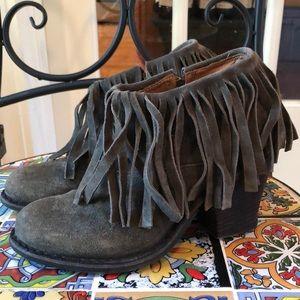 Fiorentini + Baker Gray-Green Fringe Ankle Booties